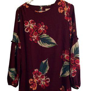 XS Purple Long-Sleeve Floral Dress from LOFT